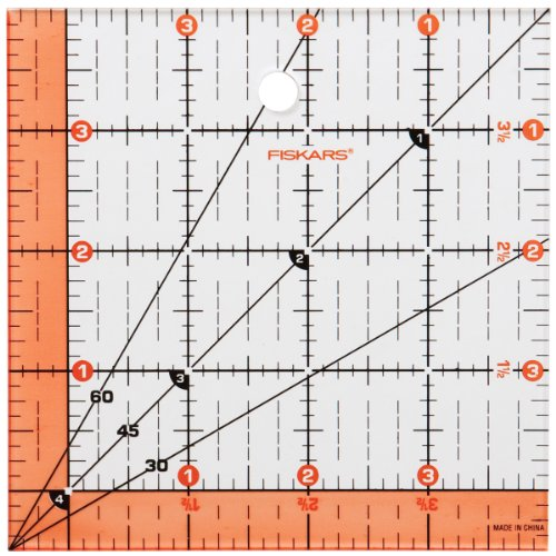 Fiskars 187290-1001 Acrylic Square Ruler, 4.5 by 4.5-Inch