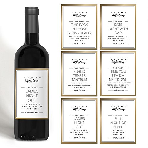 Gift for New Mom, Mommy Milestone Wine Bottle Labels for New Mom, Mommy-to-be or friend. Gold set of 5 wine labels. Perfect for Baby Shower, Mother's Day or Gift for (New Years Basket)