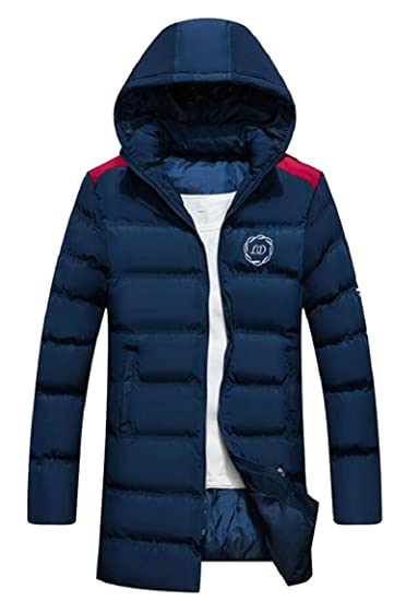HTOOHTOOH Mens Thicken Embroidered Hoodies Mid Long Outwear Quilted Down Jacket Coat