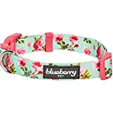 "Blueberry Pet 11 Patterns Spring Scent Inspired Floral Rose Print Turquoise Dog Collar, Large, Neck 18""-26"", Adjustable Collars for Dogs"