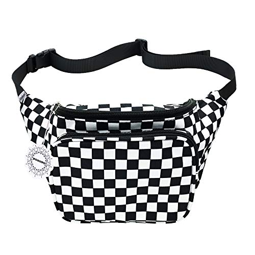 WODODO Black and White Checker Print Fanny Pack Pocket Festival Classic Styles Cellphone Bag