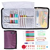 Damero Ergonomic Crochet Hooks Set, Crochet Accessories Kit/ Roll Up Storage Bag with Soft Grip Crochet Needles and Knitting Accessories, Purple