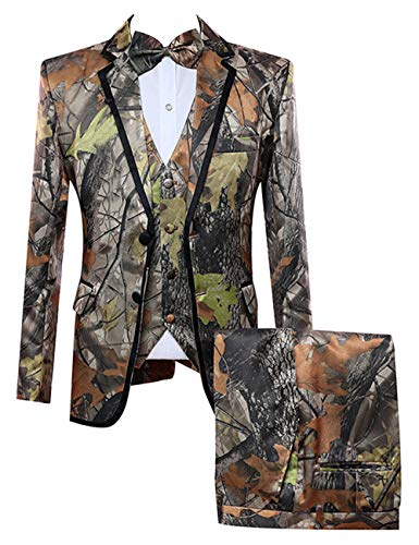 HBDesign Mens 3 Piece 2 Button Flat Collar Camouflage Suits 48R