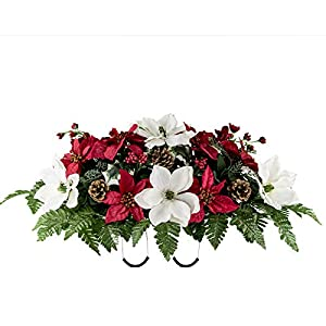 Rubys Silk Flowers White Magnolia Red Poinsettia and Pine Cones Artificial Saddle Arrangement (SD2107)