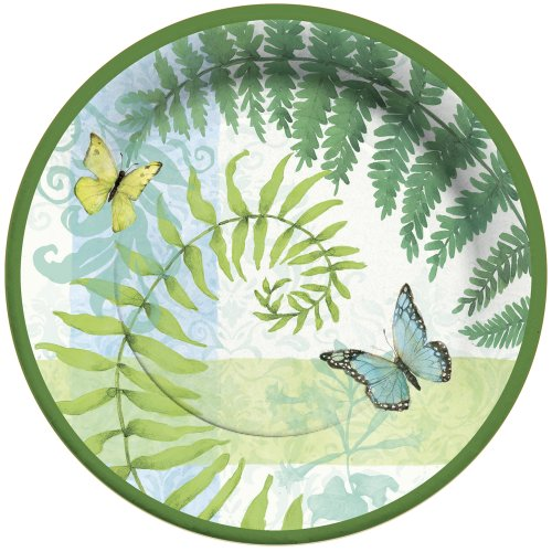 Flora Small Plate Set - C.R. Gibson 8 Count Paper Dinner Plates, Flora and Fauna