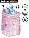 Diaper Caddy Organizer, Nursery Organizer: Best Hanging Diaper Caddy for Baby Crib, playard, Changing Table, car, Wall. Large Storage. Pink Grey Gray Chevron. Perfect Baby Shower Gift for boy or Girl
