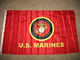 3X5 Us/Usmc Official Logo Marine Corps Double Sided 2Ply Flag Brass Grommets
