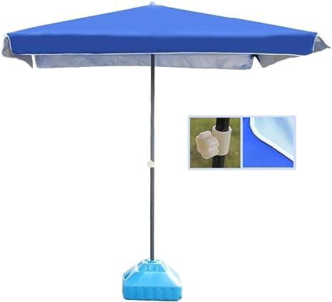 Nfudishpu - Sombrilla de playa cuadrada de 6.5 pies, sombrilla, sombrilla portátil para el mercado exterior para jardín de terraza (color: rojo, tamaño: 6.5 pies / 200 cm) (color: azul, tamaño: 6.