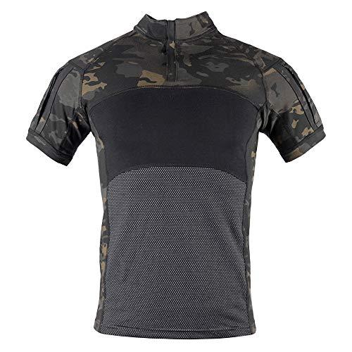 - Men's Combat Shirts Tactical Military Camouflage Shirt 1/4 Zip Short Sleeve T-Shirt