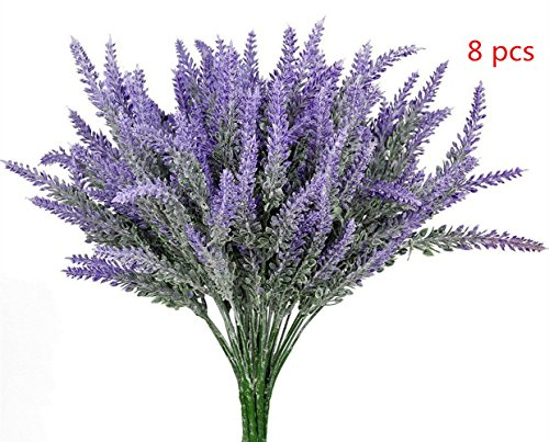 8pcs Artificial Flocked Lavender Bouquet, DIY Bridle Flowers Arrangements Home Kitchen Garden Office Wedding Decor Floral, Fake Outdoor (Lavender Harvest Provence)