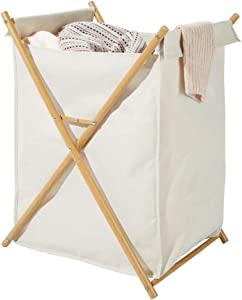 mDesign Sturdy Cloth Laundry Hamper Sorter Cart - Portable and Collapsible Folding Clothes Basket Storage with Removable Polyester Liner Fabric Bag - Durable Metal X Frame - Cream/Natural Finish