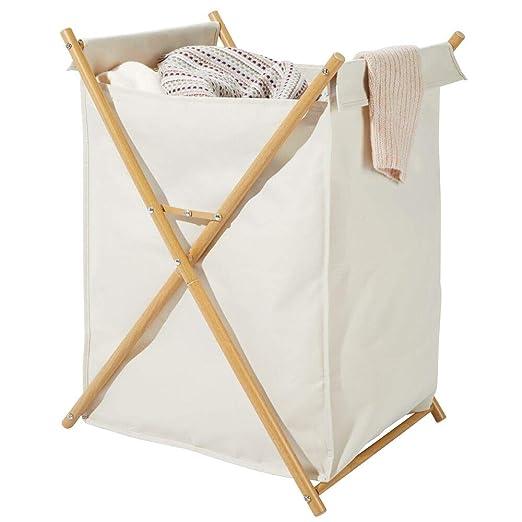 mDesign Cesto plegable para ropa sucia – Bolsa para la colada portátil – Mueble con cesto para ropa sucia extraíble – Organizador de baño de metal y ...