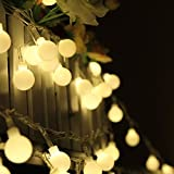 KEEDA Solar String Lights 50 LEDs 23ft/7M Waterproof Globe Ball Fairy Lights For Outdoor Garden Decor (Warm White)