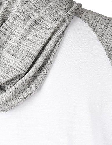 ZIMEGO Short Sleeve Raglan Henley Hoodie Round Bottom Semi Longline T-Shirt (XX-Large, White Fulfilled by by ZIMEGO (Image #3)