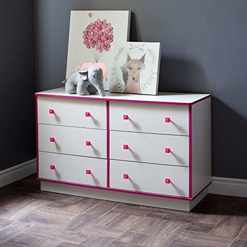 South Shore Logik 6-Drawer Double Dresser, Pure White And Pink, Pure (South Shore Double Dresser)