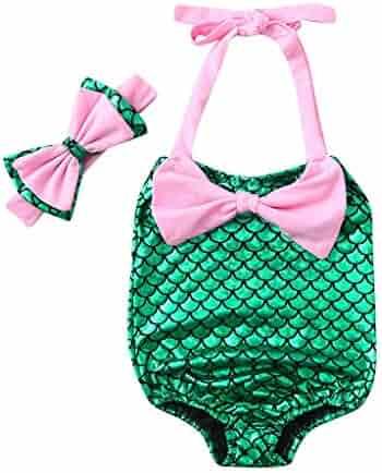 4f0439447fe Baulody Baby Girls Bikini Beach Bow Romper Mermaid Swimsuit+Headbands  Swimwear Set