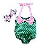 Nevera Kids Girls Mermaid Bowknot for Swimming Swimwear Swimsuit 2 Pcs Bikini Sets Pink