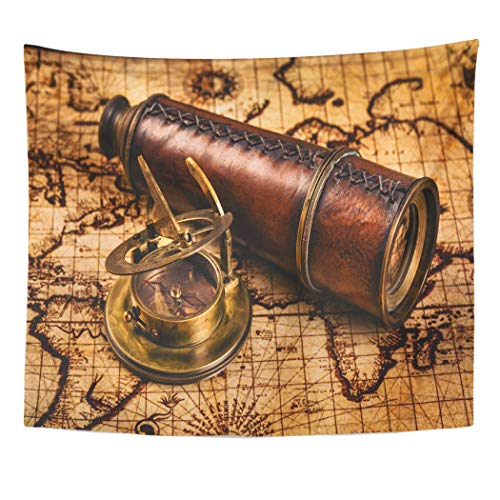 Emvency Tapestry Wall Hanging Art Nature Home Travel Geography Navigation Old Vintage Retro Compass Sundial Spyglass Living Room Bedroom Dorm Decor in 50 x 60 Inches