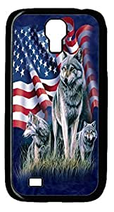 Samsung S4 Case, iCustomonline Wolf American Flag Back Cover Case For Samsung Galaxy S4 I9500 Black
