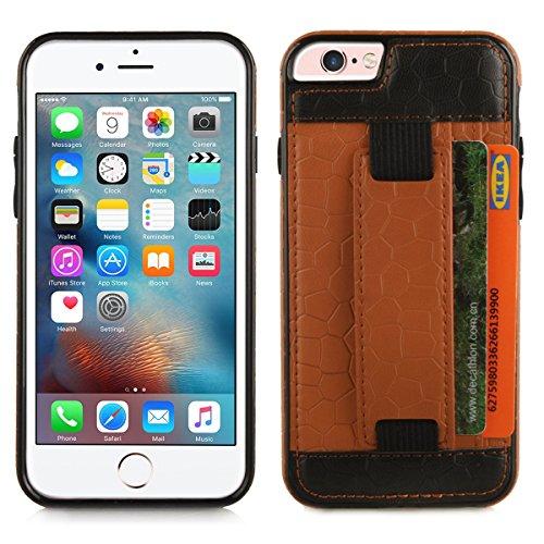 Alienwork Schutzhülle für iPhone 6/6s Portemonnaie Brieftasche Hülle Case Ständer Stoßfest Kunstleder bronze braun AP6S17-02