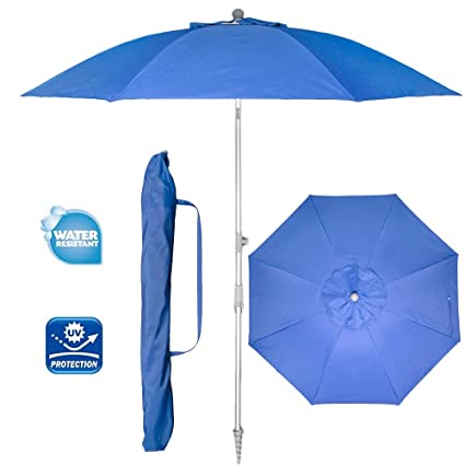 8b567192cb9c Snail 7 ft Portable Vented Beach Umbrella, Silver Coating Inside Sun ray  Protection UPF80+ with Tilt Telescoping Aluminum Pole and Integrated Sand  ...