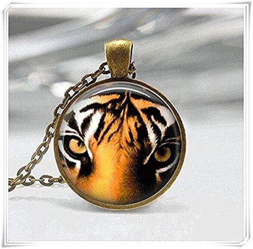 Tiger Glass Tile Necklace Glass Tile Pendant Tiger Necklace ()