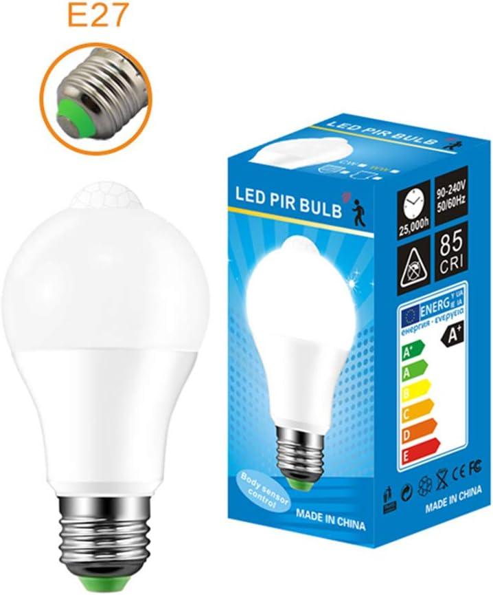 Bombilla LED con sensor de infrarrojos para el cuerpo humano, con sensor de movimiento, LED E27/B22, 10 W, lámpara de inducción para escaleras de garaje, E27 Cool White, round, 10.00W