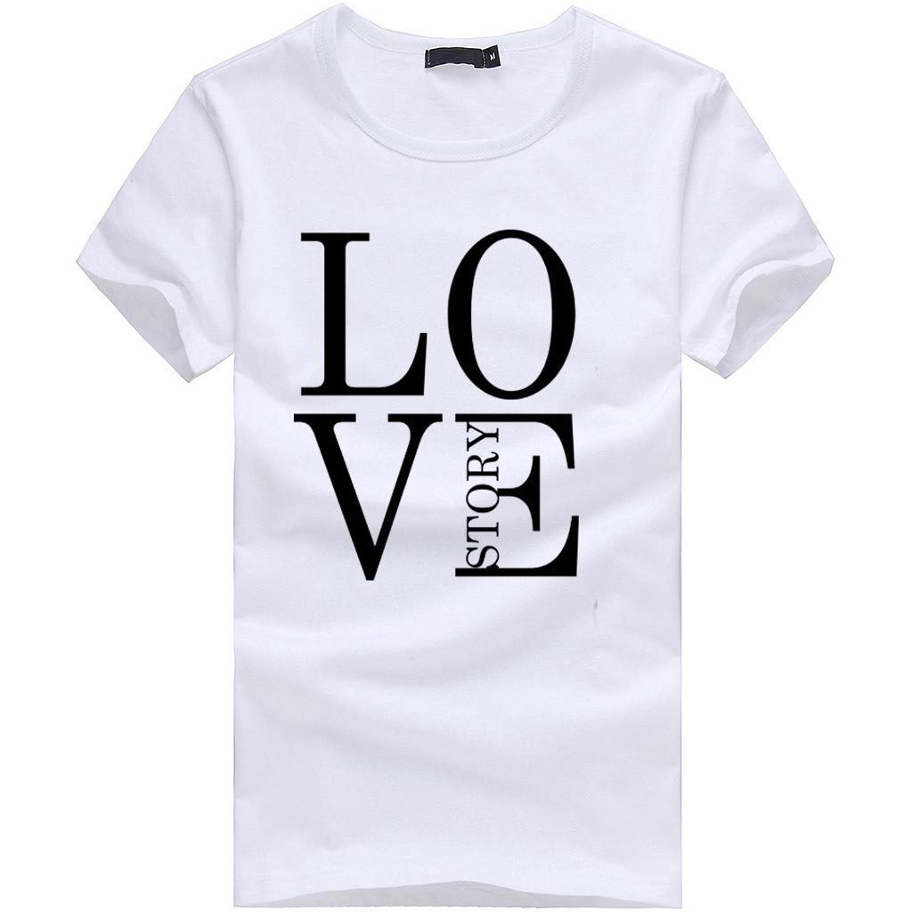 minjiSF Women's Summer Love Story Print Tee Short Sleeve Round Neck Loose Closure Casual Blouse T-Shirts Plus Size White