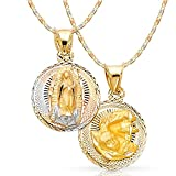 Ioka Jewelry - 14K Tri Color Gold Diamond Cut Double Side Stamp Virgin Mary Baptism Religious Charm Pendant with 1.5mm Valentino Chain Necklace - 18''