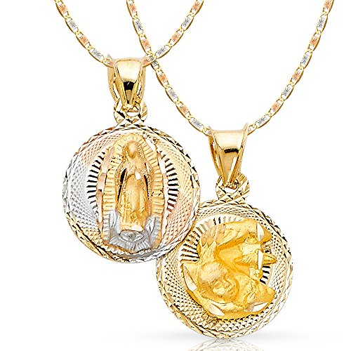 14K Tri Color Gold Diamond Cut Double Side Stamp Virgin Mary Baptism Charm Pendant with 1.5mm Valentino Chain Necklace - 16