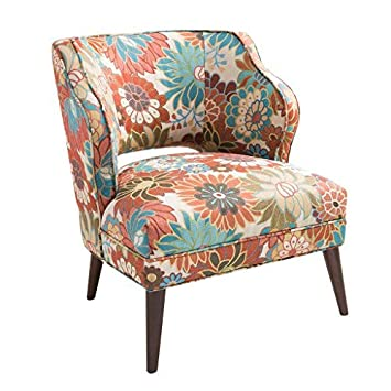 Madison Park FPF18-0395 Cody Accent Chairs – Hardwood, Brich Wood, Floral, Bedroom Lounge Mid Century Modern Deep Seating, Wingback Club Style Living Room Furniture, Multi