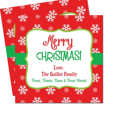 Present Party Labels gift tag Personalised SNOWFLAKE Christmas Photo STICKERS