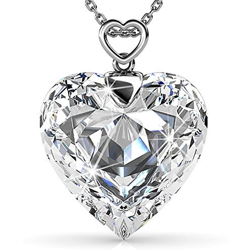 Clear Heart Necklace (FAPPAC Clear Heart Pendant Necklace Enriched with Swarovski Crystals)