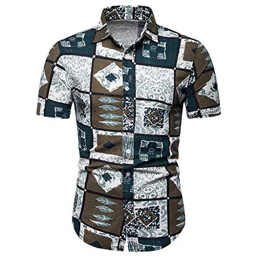 Men's Relaxed-Fit Silk/Linen Tropical Leaves Jacquard Shirt Hawaiian Flower Print Casual Button Down Short Sleeve ()