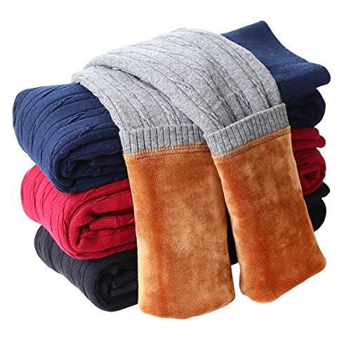 Tengo Girls Winter Thick Leggings Fleece Lined Warm Kids Leggings Pants(Grey,130)