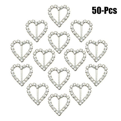 (Coxeer 50PCS Buckle Slider Ribbon Buckle Square Circle Heart Shaped DIY Craft Rhinestone Buckle for Wedding)