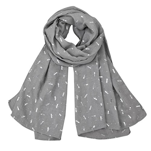 Boomboom Women Gold Foil Dragonfly Printed Shawl Scarves (Gray)