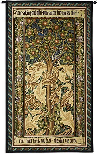 William Cotton Tapestry - Woodpecker Gold by William Morris | Woven Tapestry Wall Art Hanging | Woodpeckers Stealing Fruit Among Acanthus Leaves | 100% Cotton USA Size 72x41