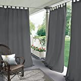gazebo curtains lowes COFTY Indoor/Outdoor Tab Top Curtain Panels For Patio  Porch  Gazebo  Pergola   Cabana   dock  beach home - Grey 52W x 84L Inch (1 Panel)