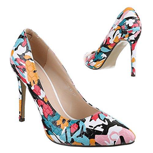 Ital-Design - Zapatos de Tacón Mujer Multicolor - Schwarz Multi