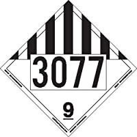 Labelmaster ZEZ19-77 UN3077 Miscellaneous Dangerous Goods Hazmat Placard, E-Z Removable Vinyl (Pack of 25)
