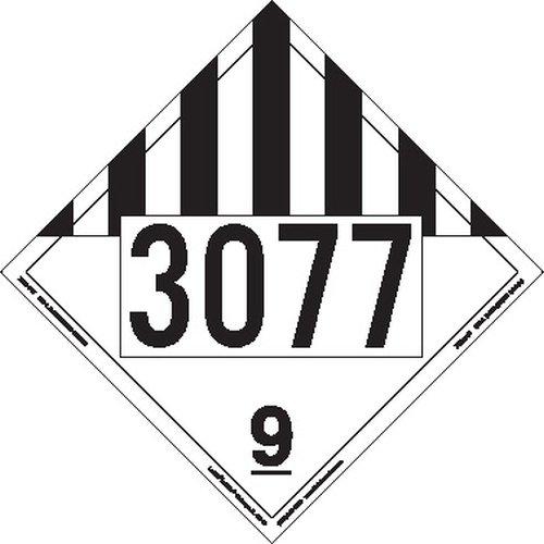 Labelmaster ZEZ19-77 UN3077 Miscellaneous Dangerous Goods Hazmat Placard, E-Z Removable Vinyl (Pack of 25)