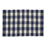 DII CAMZ11261 Indoor Handloomed Cotton Woven Reversible Buffalo Check Area Rug for Bedroom, Living Room, Kitchen, 26X40, Navy & Cream
