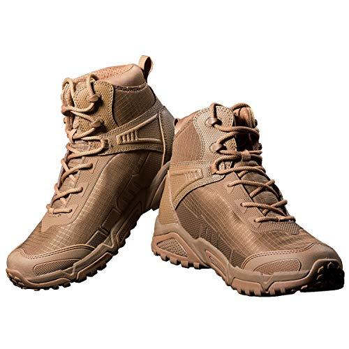 FREE SOLDIER pour Homme Mid Haute durabilité Lacets Bottes Durable Imperméable Armée Combat Chaussures Respirant… 1