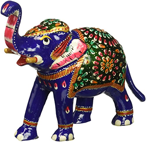 SouvNear 6.4 Inch Trunk-Up Elephant Statue with White Metal Work - Collectible Animal Figurines Symbol of Good Luck Power (Good Fortune Elephant)