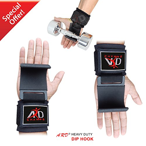 ARD Heavy Duty Weight Lifting Hooks Training Gym Straps Bar Wrist Brace Workout Black