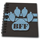 3dRose Doreen Erhardt Social Media BFF - Pajarita para perro, color azul para los amantes de las mascotas, los mejores amigos para siempre, libro de dibujo, 4 x 4, 1, 1