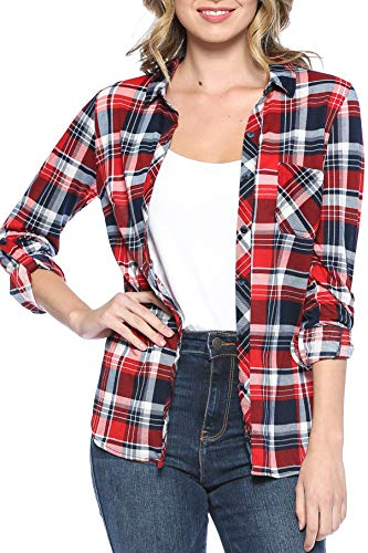 Urban Look Womens Long Sleeve Plaid Button Down Flannel Shirt (2X, Navy Red) ()
