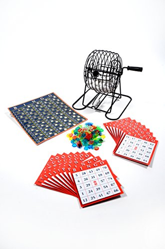Regal Games Metal 8-Inch Bingo Cage Game with White Balls, Bingo Chips, and 17 Bingo Cards