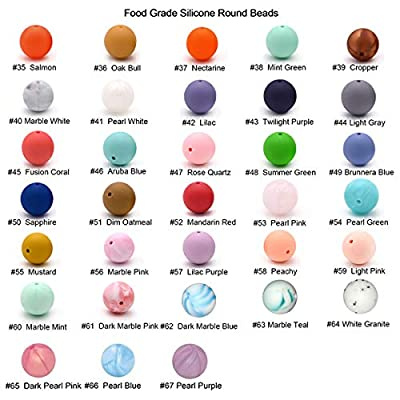 Baby Silicone Beads Teether 100pcs 15mm Teething Beads Round Loose Organic Nursing Chew Necklace Bracelet Jewelry Making (Mix Color): Arts, Crafts & Sewing